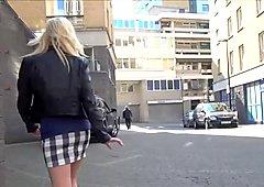 Blonde babe Axa Jays public flashing and voyeur