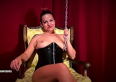 Chastity Goddess Fucks Slave with Strap-On, Rides his Face, Cums on Dildo