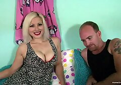 Naturally busty blonde films her first amateur video