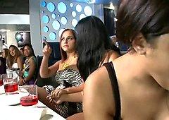 Black stripper gets his hard pecker sucked by lustful babes