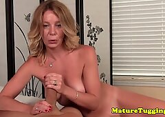 Milf jerking on cock for this lucky pov guy