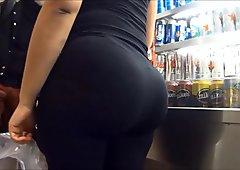 Sexy big ass blonde tight leggings