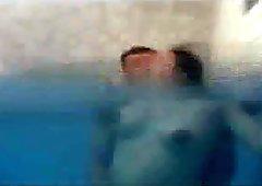 Preggo fucks in pool
