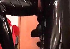 XXL butt plug fuck on a bike seat