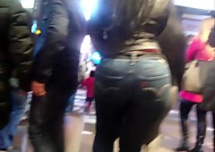 Candid Leather (Fat ass in tight jeans)