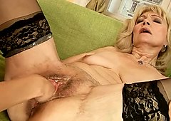 Baseball bat in grannies big hairy cunt