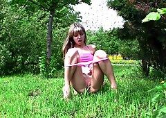 Hot Russian Babe Masturbates in Public Park