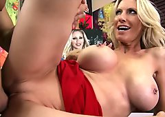 Mature blond MILF shows off her pierced nipples & rides dick