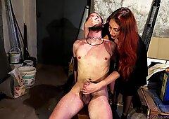 Mistress Masturbates Slave Hot Wax Torture Nipples Cumshot Femdom