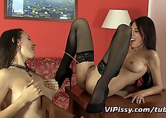 Hot lesbian lovers share piss and orgasms
