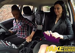 faux Driving School big-titted black learner fails test with girl-on-girl examiner