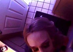 Pornstar Sarah Jessie gives a BJ in the bathroom