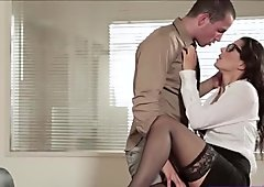 Hot Secretary Alexa Tomas in cowgirl action and receives a cumshot