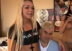 Three atractive playful pornstar hotties sharing one stiff cock in foursome