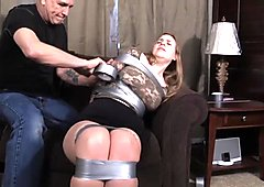 Charming busty brunette with massive tits gets inbound