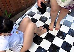 fat lesbian pissing on my feet