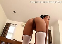 Hot fucking against wall with sexy Asian girl