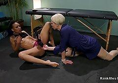 Hairy ebony spanked in suspension lezdom