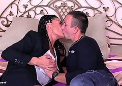 Mature mother having taboo sex with son