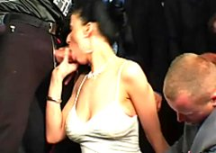Filthy brunette mature rides stiff penis while giving oral fuck