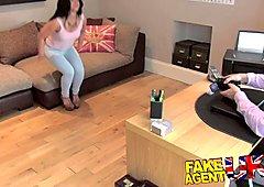 FakeAgentUK Pretty girl takes a massive facial