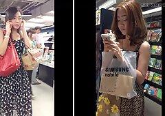 Buscando los vestidos de 2 señoras guapa comprando