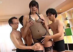 Spoiled Japanese hussy Saki Aoyama gives mind taking blowjob to bunch of horny dudes
