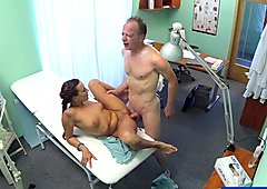 FakeHospital Patient gives his hot brunette a cream pie