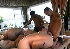 Hairy Men Threesome And Cumshots