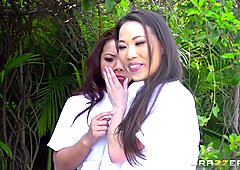 Kalina Ryu and Morgan Lee massage threeway