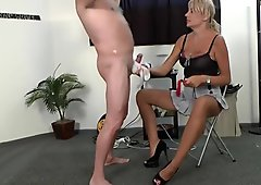 Many femdom Mistresses dominate males with strapon and pain