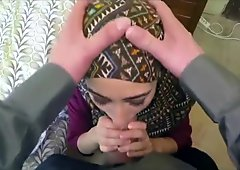 Young Muslim girl sucks HUGE cock