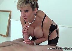 Handjob queen Lady Sonia has another cock to jerk