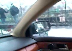 Cindy Dollar sucking cock in car