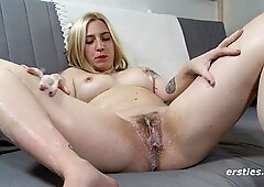 Jane Lotions Her mouth-watering coochie then Works hitachi on her Clit